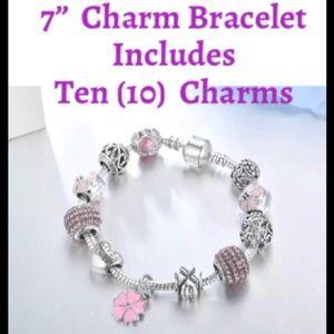 Jewelry - European Snake Charms Bracelet w Flower Crystals